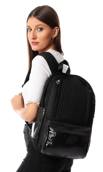 45166 Mesh Backpack With Canvas Front Pocket - Black & Silver