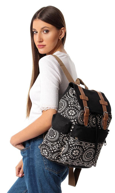 45168 Multi Patterns Backpack With Zipper Pocket - Black & Off White