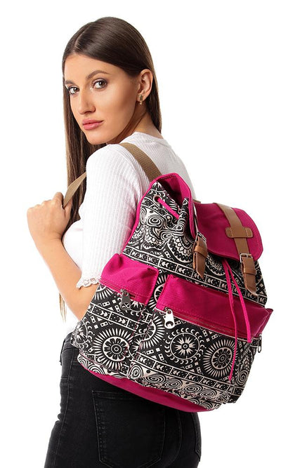 45169 Multi Patterns Backpack With Zipper Pocket - Black, Off White & Fushcia