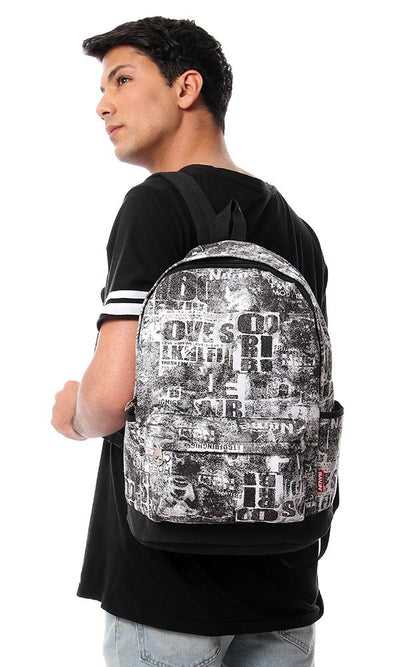 45172 Printed Black & White Zipper Backpack - Ravin