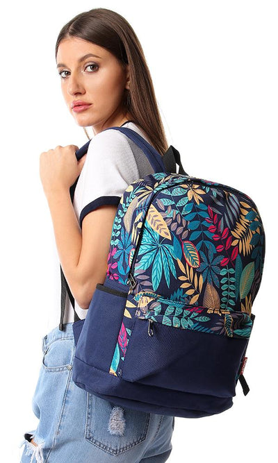 45174 Leaves Printed Canvas Backpack - Turquoise - Ravin