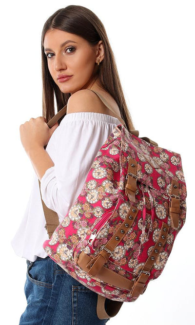 45176 Decorative Studs Magnetic Backpack - Fushcia & Beige