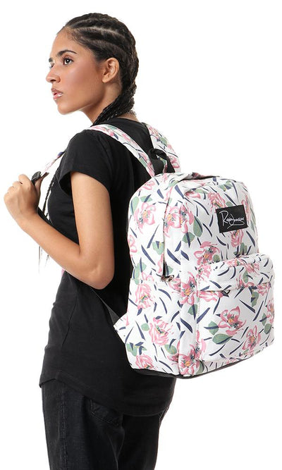 45178 Floral Casual Zipped White Backpack
