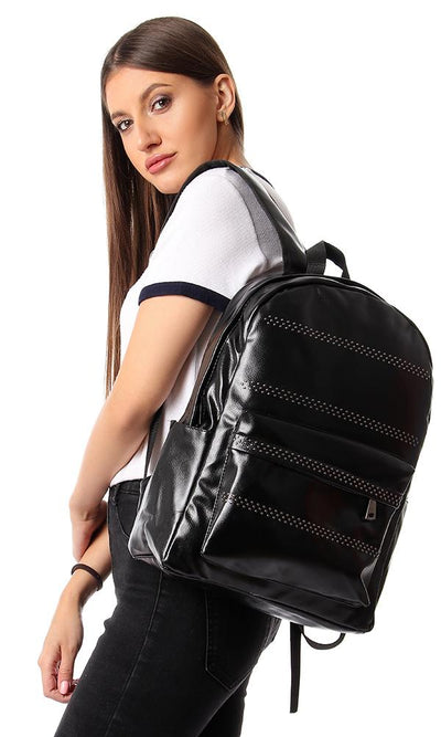 45179 Zipper Backpack With Decorative Studs - Black