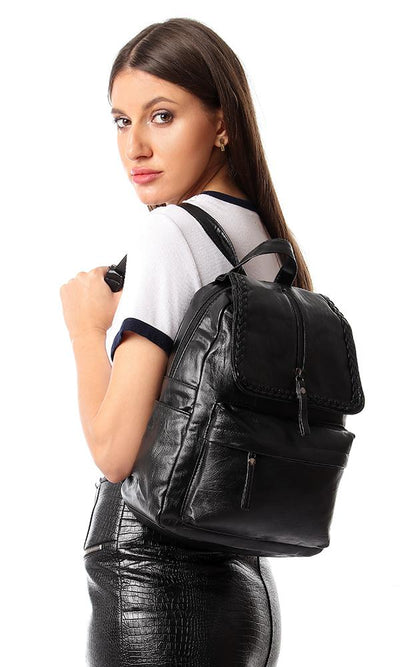45185 Front Decorative Zipper & Braid Backpack - Black