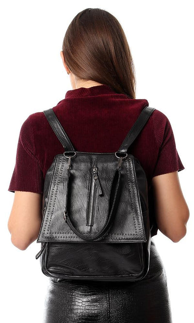 45187 Front Decorative Zipper & Studs Backpack - Black