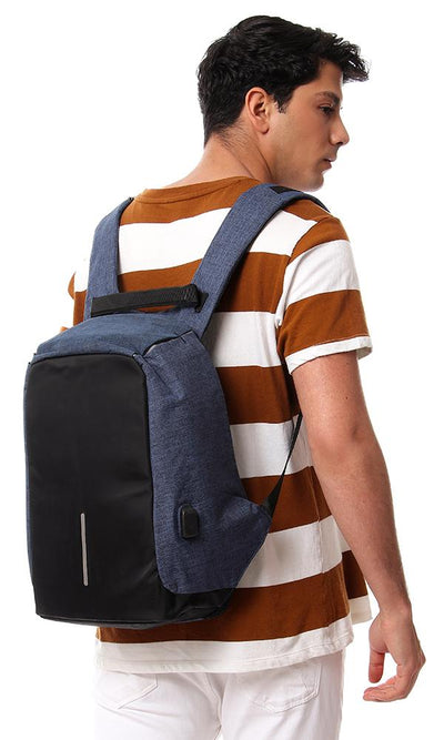 45196 Heather Laptop Backpack Comes With USB - Navy Blue & Black