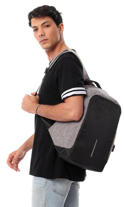 45197 Heather Laptop Backpack Comes With USB - Grey & Black - Ravin