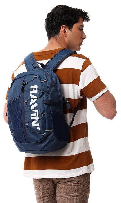45198 One Compartment Zip Closure Backpack - Navy Blue
