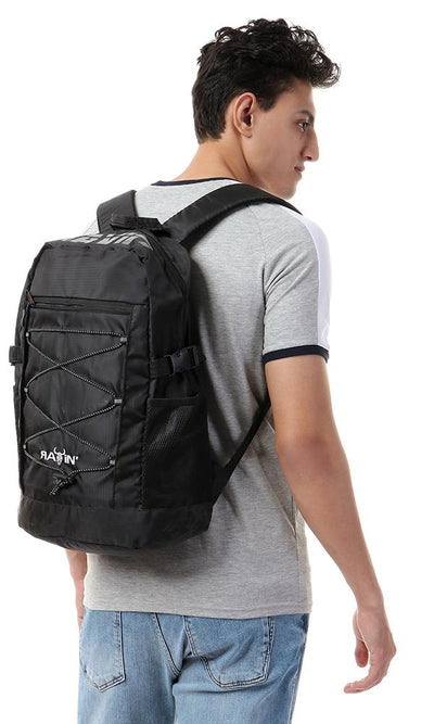 45202 Front Lace Zipped Backpack - Black - Ravin