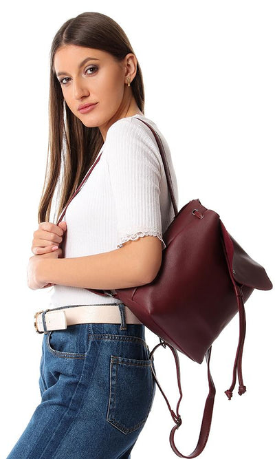 45217 Casual Trendy Drawstring Backpack - Burgundy