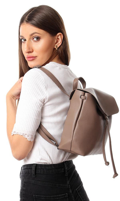 45218 Plain Simple Magnetic Closure Backpack - Taupe