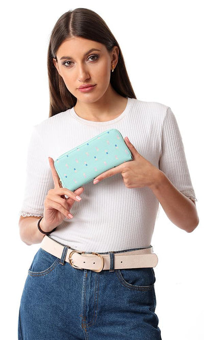 45256 Mushroom Printed Canvas Wallet - Mint Green
