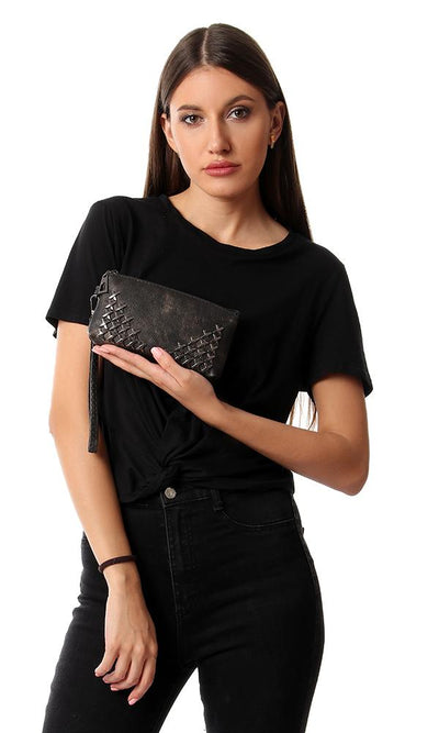 45259 Decorated Cross Studs Leather Wallets- Black - Ravin
