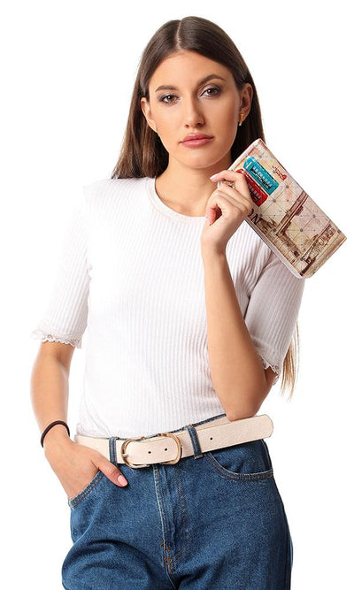 45260 Internal Zipper Pocket & Card Slot Printed Wallet - Beige