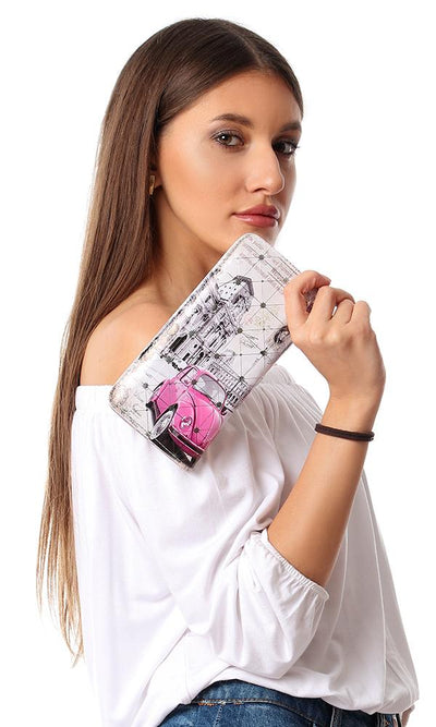 45261 Internal Zipper Pocket & Card Slot Printed Wallet - White