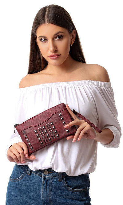 45269 Front Studded Zipper Burgundy Wallet - Ravin