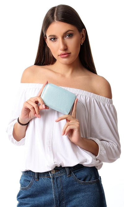 45274 Mini Plain Zipper Closure Wallet - Baby Blue