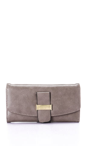 45744 Elegant Textured Taupe Leather Wallet