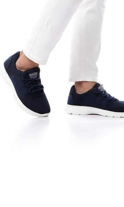 45794 All Navy Blue Lace Up Sneakers With White Sole - Ravin