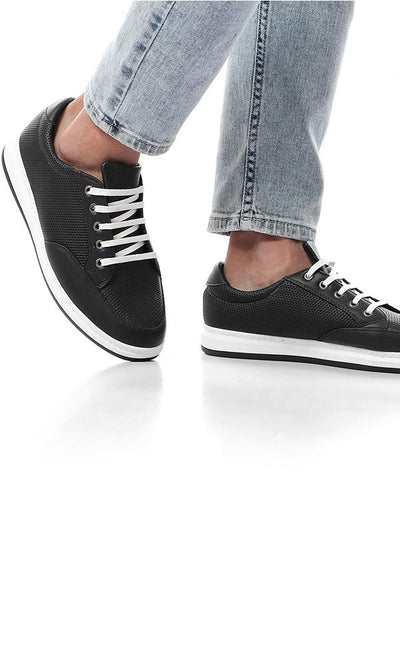 45795 Diamonds Leather Black Casual Sneakers - Ravin