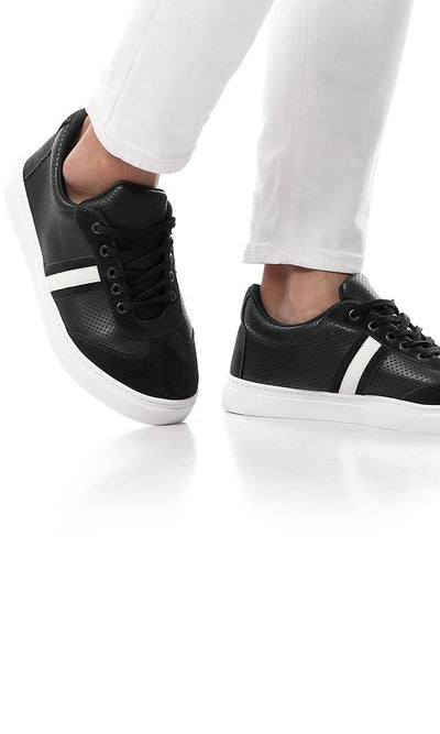 45803 Self Dotted Leather Bi-Tone Casual Shoes - Black & White - Ravin