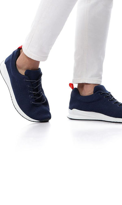 45808 Knitted Comfort Lace Up Casual Sneakers - Navy Blue - Ravin