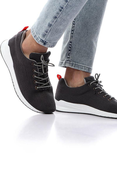 45809 Knitted Comfort Lace Up Casual Sneakers - Dark Grey - Ravin