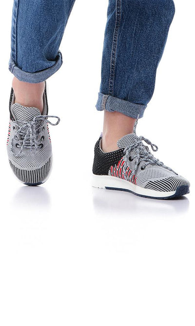 45813 Round Comfy Mesh Lace Up Grey Sneakers - Ravin