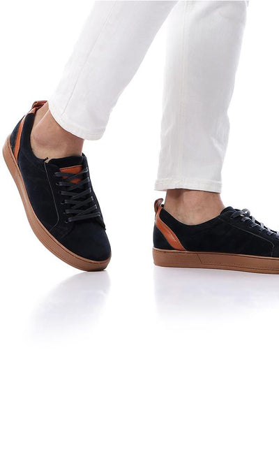 45830 Bi-Tone Soft Suede Lace Up Navy Blue & Havana Sneakers - Ravin