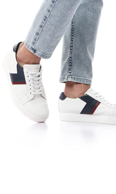 45833 Tri-Tone Lace Up Casual Sneakers - White , Navy Blue & Burgundy - Ravin