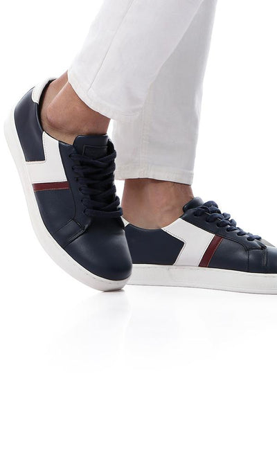 45835 Tri-Tone Lace Up Casual Sneakers - Navy Blue, White & Burgundy - Ravin