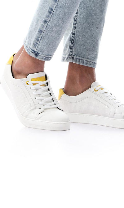 45839 White Leather Sneakers With Yellow Heel Tab - Ravin