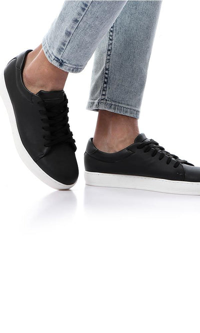 45843 Textured Black Leather Casual Sneakers With White Sole - Ravin