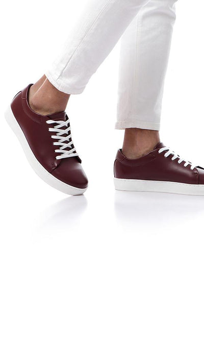 45844 Plain Maroon Sneakers With White Lace Up - Ravin