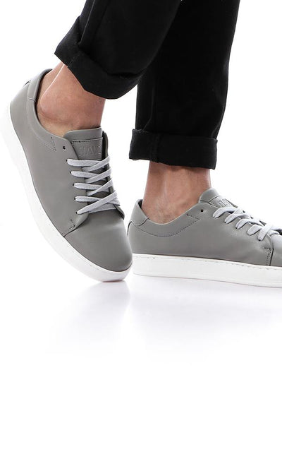 45845 Plain Grey Sneakers With Light Grey Lace Up - Ravin