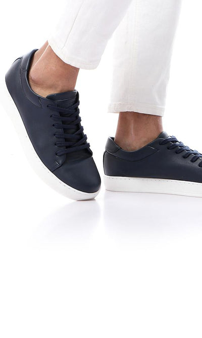 45848 Round Toe Navy Blue Textured Leather Sneakers - Ravin