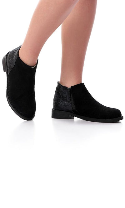 45850 Suede Ankle Boot With Glittery Back - Black - Ravin