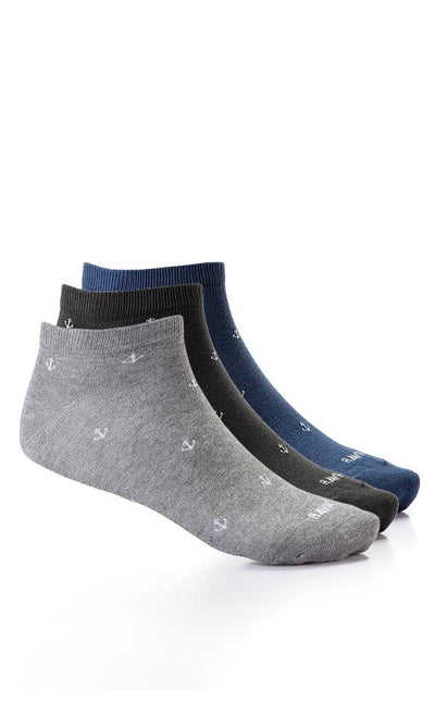 45898 Set Of 2 Pairs Anchor Printed Liner Socks - Black , Navy Blue And Grey - Ravin
