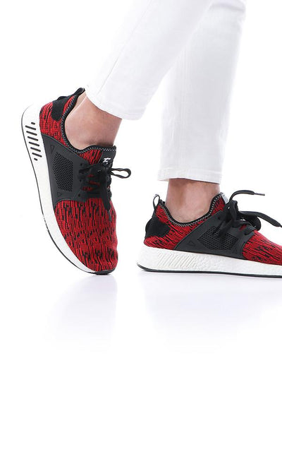 45901 Synthetic Fashionable Black & Red Sneakers - Ravin