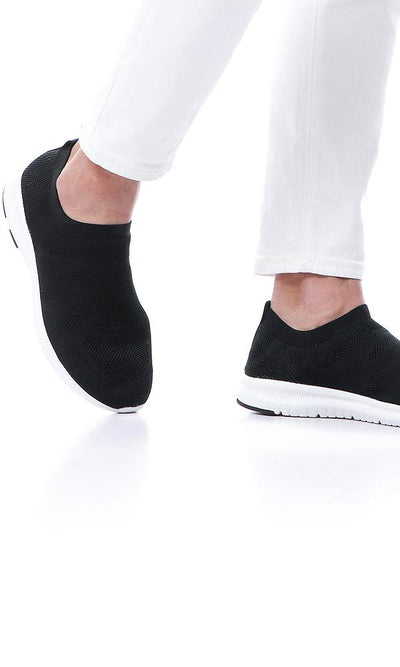 45908 Black Mesh Slip On Breathable Socks Sneakers - Ravin
