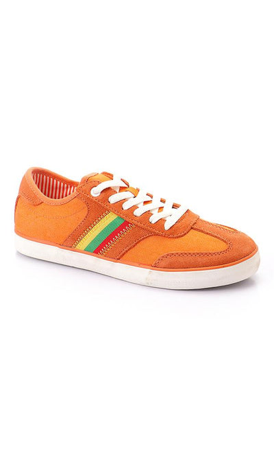 45909 Round Toe Lace Up Mix Trendy Sneakers - Orange - Ravin