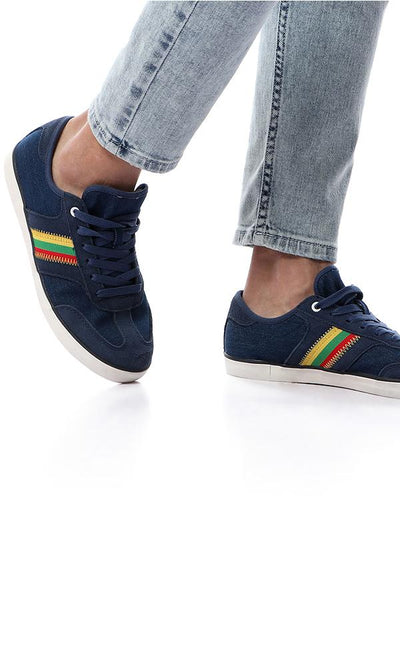 45910 Side Colorful Stitching Sneakers - Heather Navy Blue - Ravin