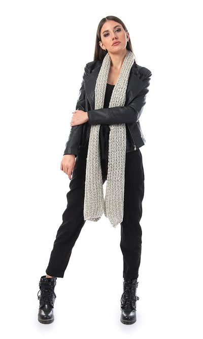 45920 Perforated Knitted Braids Beige Scarf - Ravin