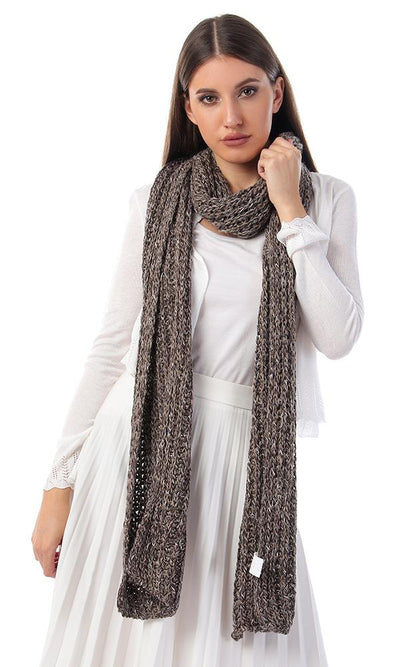 45922 Knitted Braids Coffeee Winter Scarf - Ravin