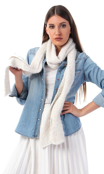 45923 Soft Wool With Eyelash Off-White Scarf - Ravin