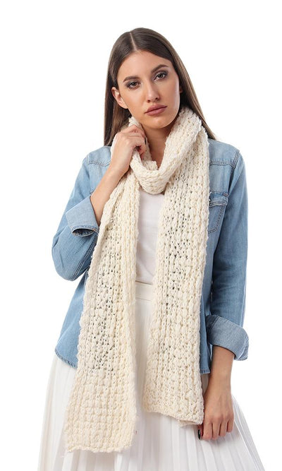 45925 Chunky Knitted Winter Slim Scarf - Cream - Ravin