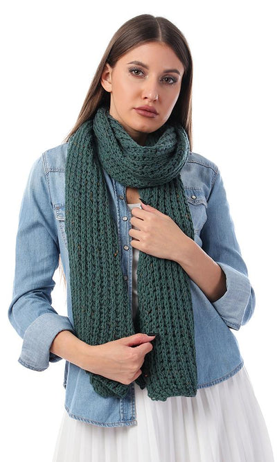 45929 Perforated Knit Dark Green Winter Scarf - Ravin