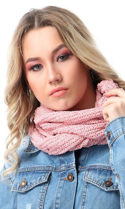 45950 Fashionable Knitted Slip On Pink Scarf