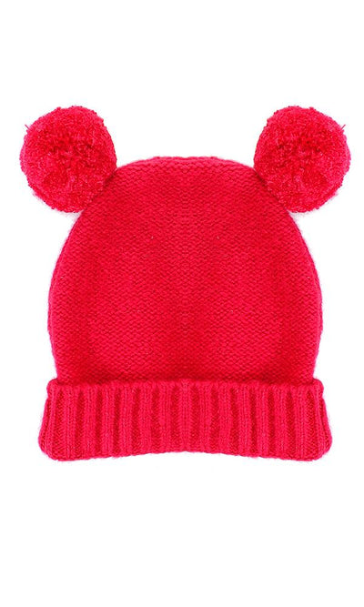45955 Girls Pom Knitted Simple Fuchsia Ice-cap